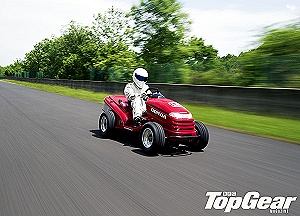 BBC TopGear Magazine and Honda Unleash the Stig on a 130mph Ride-on Lawnmower